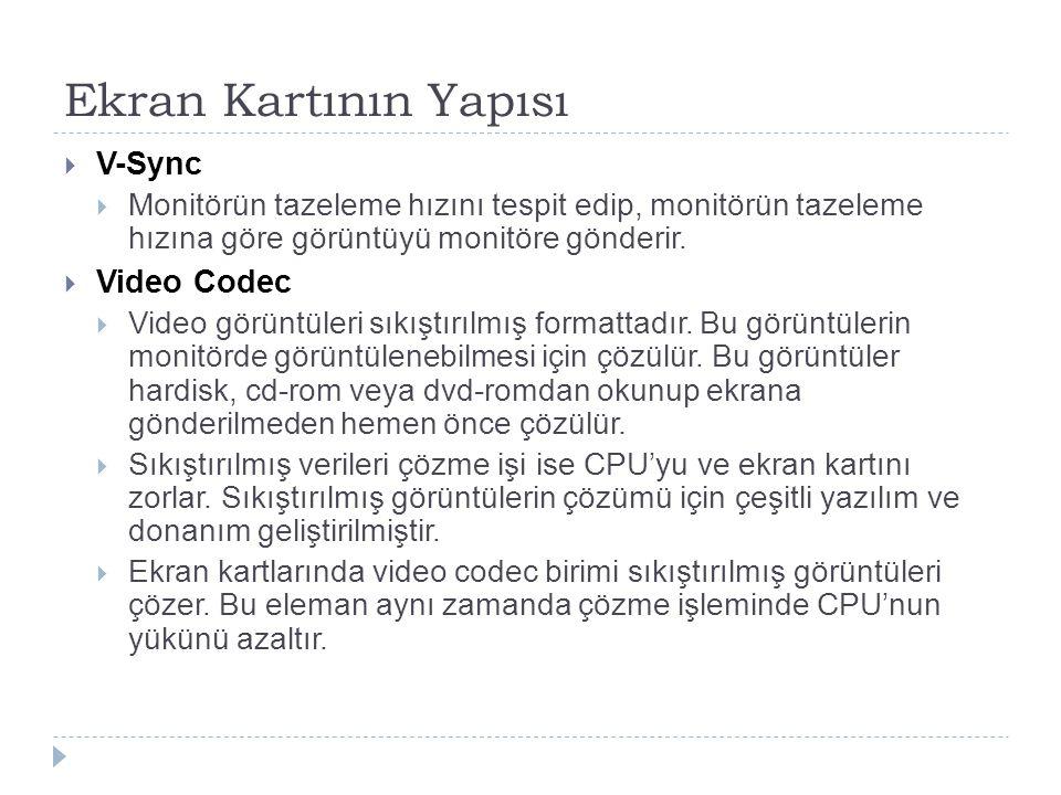 Ekran Kartının Yapısı V-Sync Video Codec