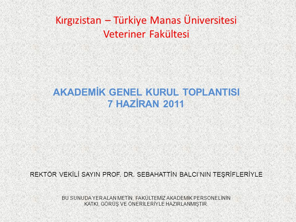 Kırgızistan – Türkiye Manas Üniversitesi Veteriner Fakültesi