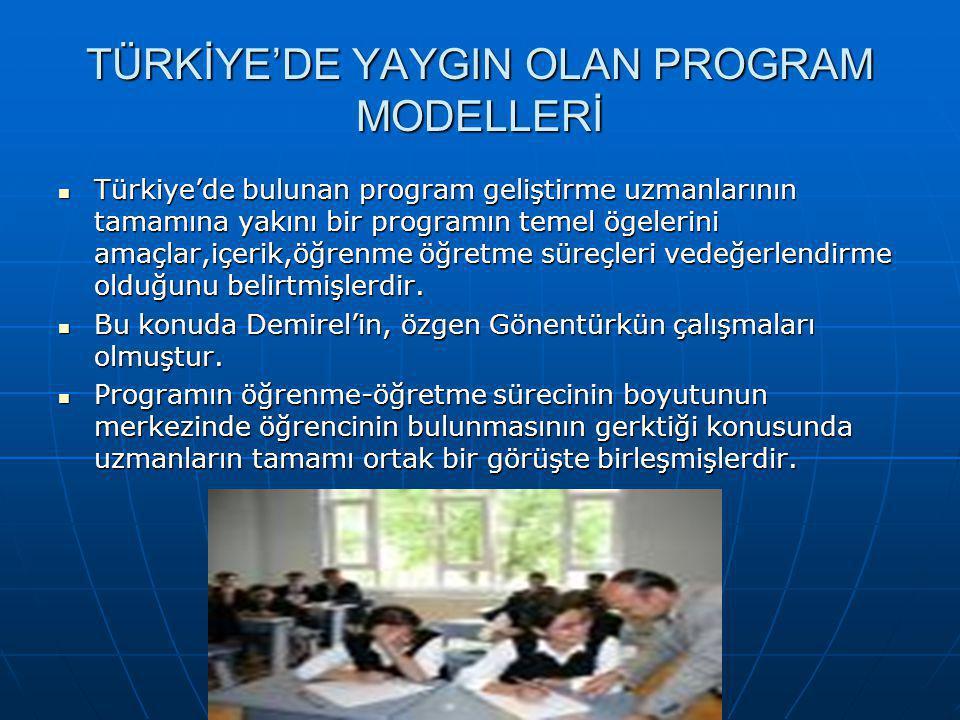 TÜRKİYE'DE YAYGIN OLAN PROGRAM MODELLERİ