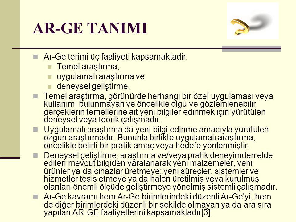 AR-GE TANIMI Ar-Ge terimi üç faaliyeti kapsamaktadir: Temel araştırma,