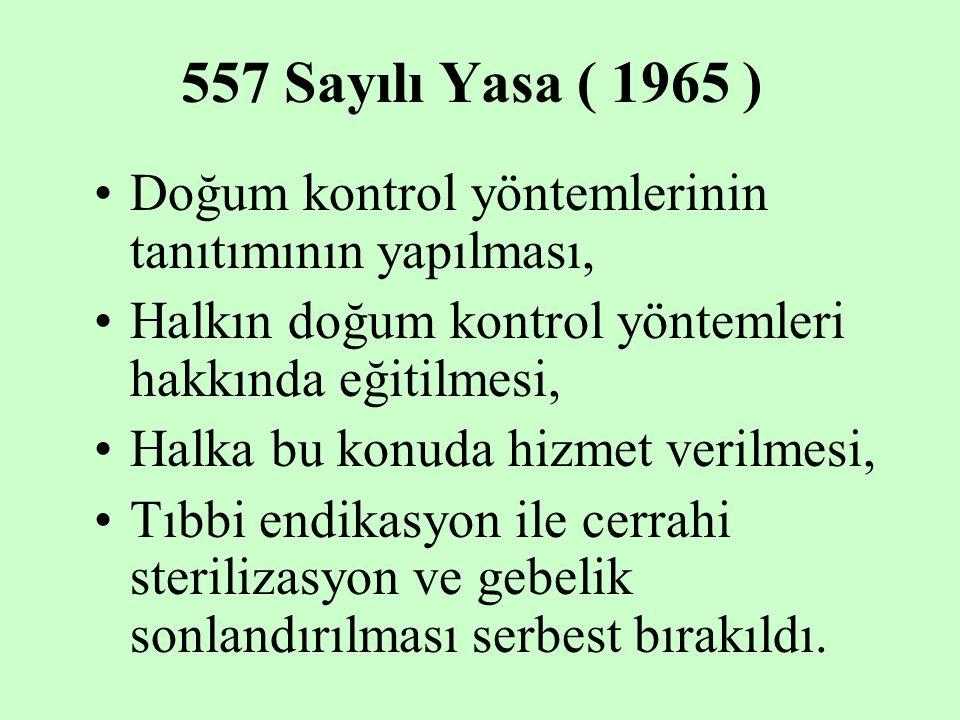 557 Sayılı Yasa ( 1965 ) Doğum kontrol yöntemlerinin tanıtımının yapılması, Halkın doğum kontrol yöntemleri hakkında eğitilmesi,