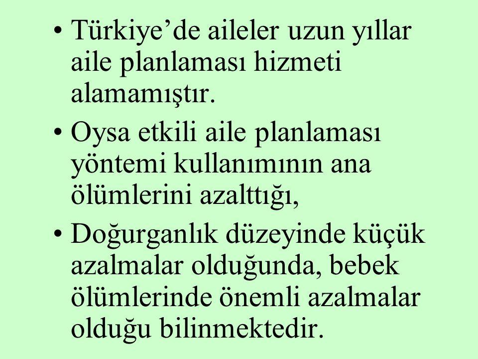 Türkiye'de aileler uzun yıllar aile planlaması hizmeti alamamıştır.