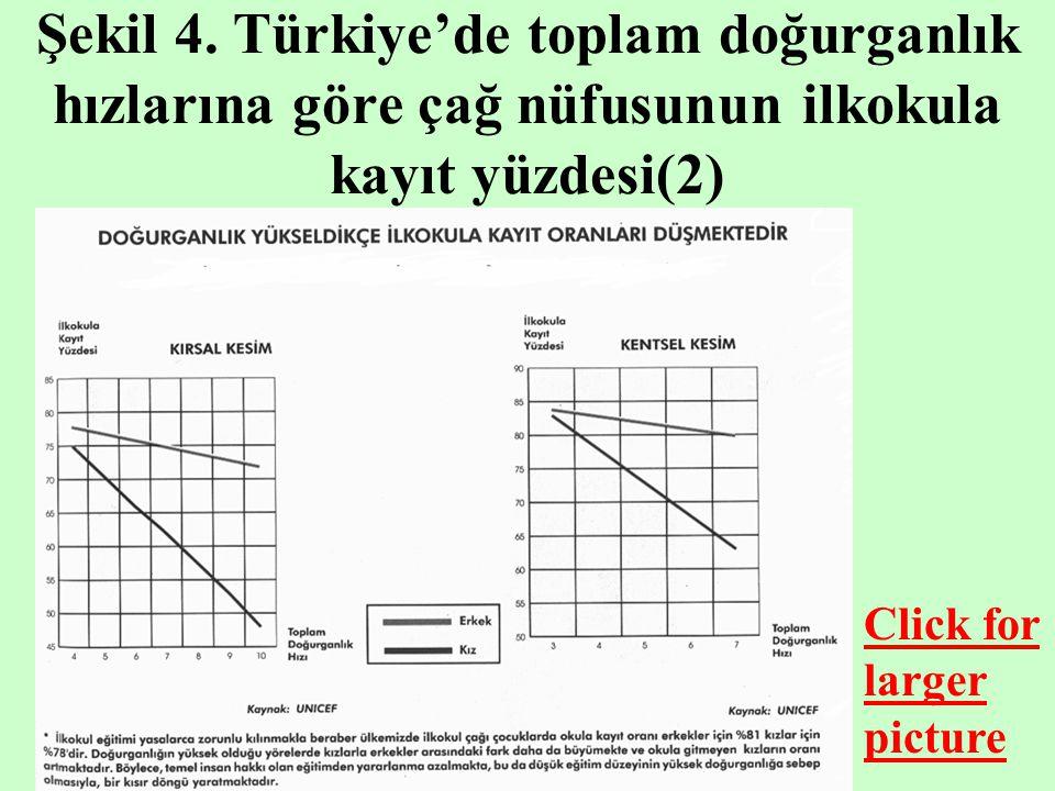 Şekil 4. Türkiye'de toplam doğurganlık hızlarına göre çağ nüfusunun ilkokula kayıt yüzdesi(2)