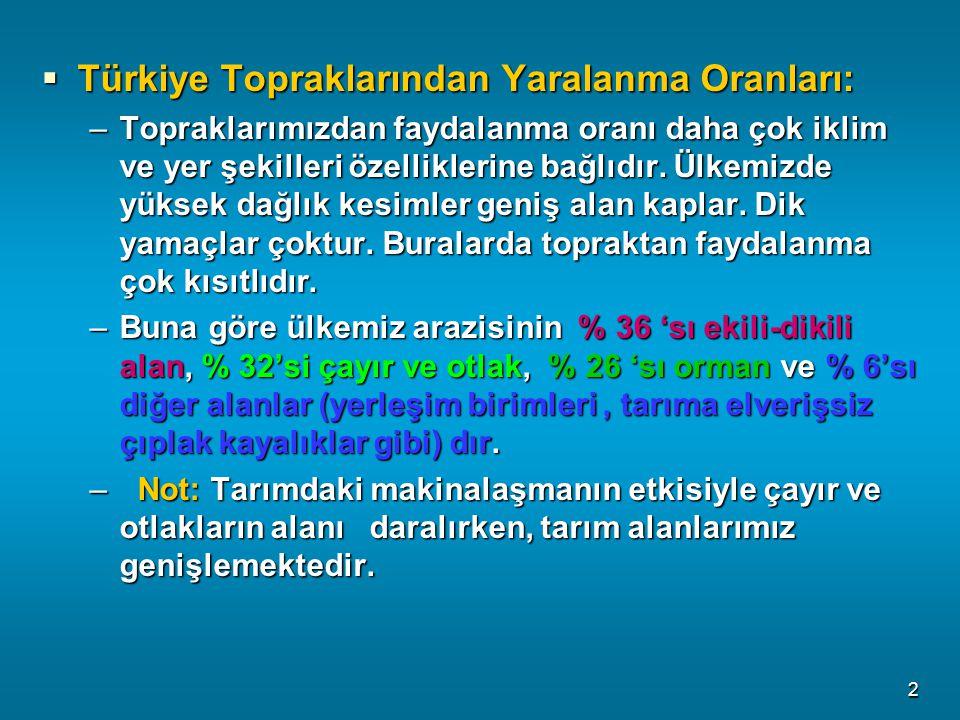 Türkiye Topraklarından Yaralanma Oranları: