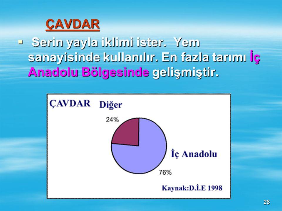 ÇAVDAR Serin yayla iklimi ister. Yem sanayisinde kullanılır.
