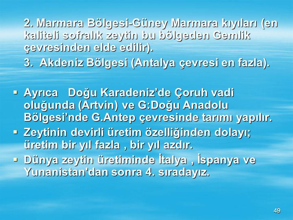 2. Marmara Bölgesi-Güney Marmara kıyıları (en kaliteli sofralık zeytin bu bölgeden Gemlik çevresinden elde edilir).