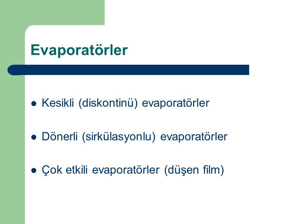 Evaporatörler Kesikli (diskontinü) evaporatörler