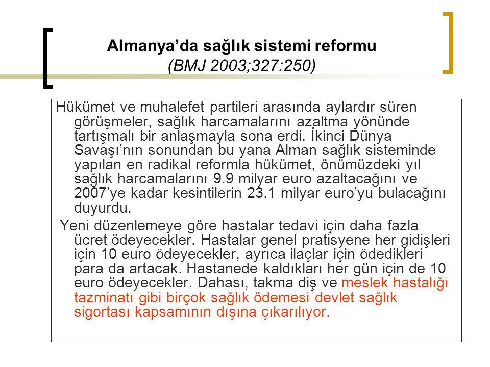Almanya'da sağlık sistemi reformu (BMJ 2003;327:250)