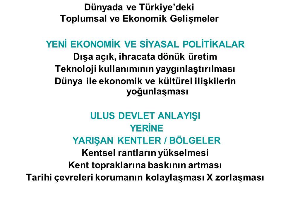 Dünyada ve Türkiye'deki Toplumsal ve Ekonomik Gelişmeler