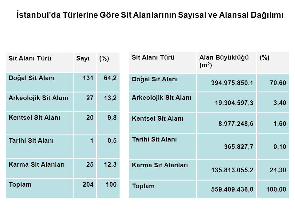 İstanbul'da Türlerine Göre Sit Alanlarının Sayısal ve Alansal Dağılımı