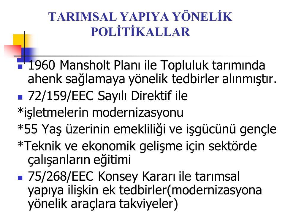 TARIMSAL YAPIYA YÖNELİK POLİTİKALLAR