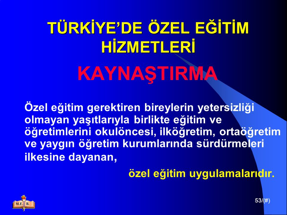 TÜRKİYE'DE ÖZEL EĞİTİM HİZMETLERİ