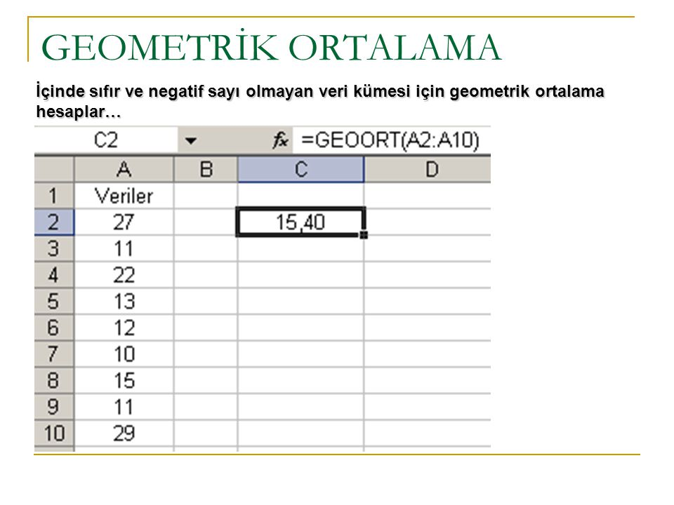 GEOMETRİK ORTALAMA İçinde sıfır ve negatif sayı olmayan veri kümesi için geometrik ortalama hesaplar…