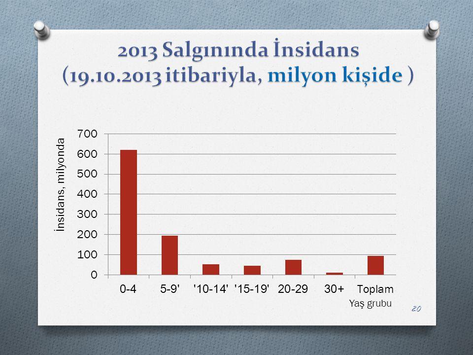 2013 Salgınında İnsidans (19.10.2013 itibariyla, milyon kişide )