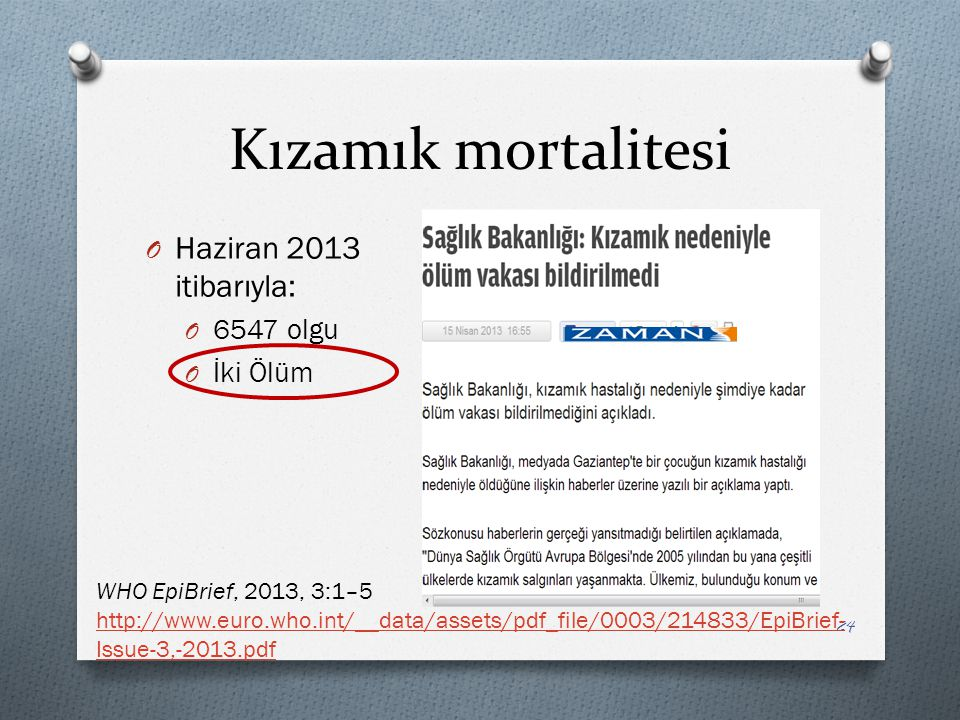 Kızamık mortalitesi Haziran 2013 itibarıyla: 6547 olgu İki Ölüm