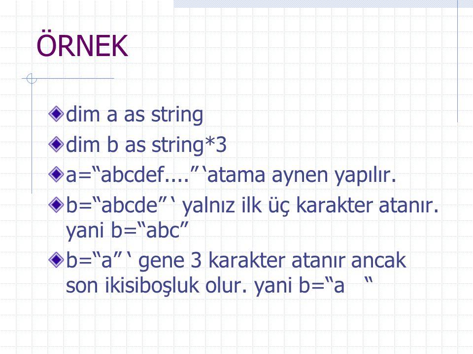 ÖRNEK dim a as string dim b as string*3