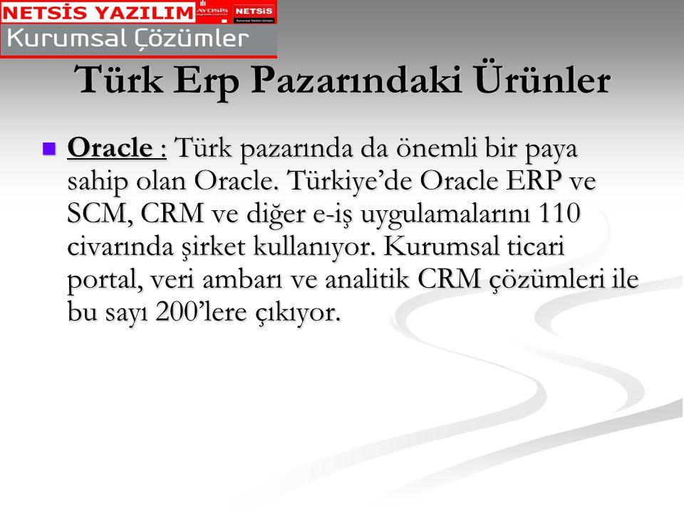 Türk Erp Pazarındaki Ürünler