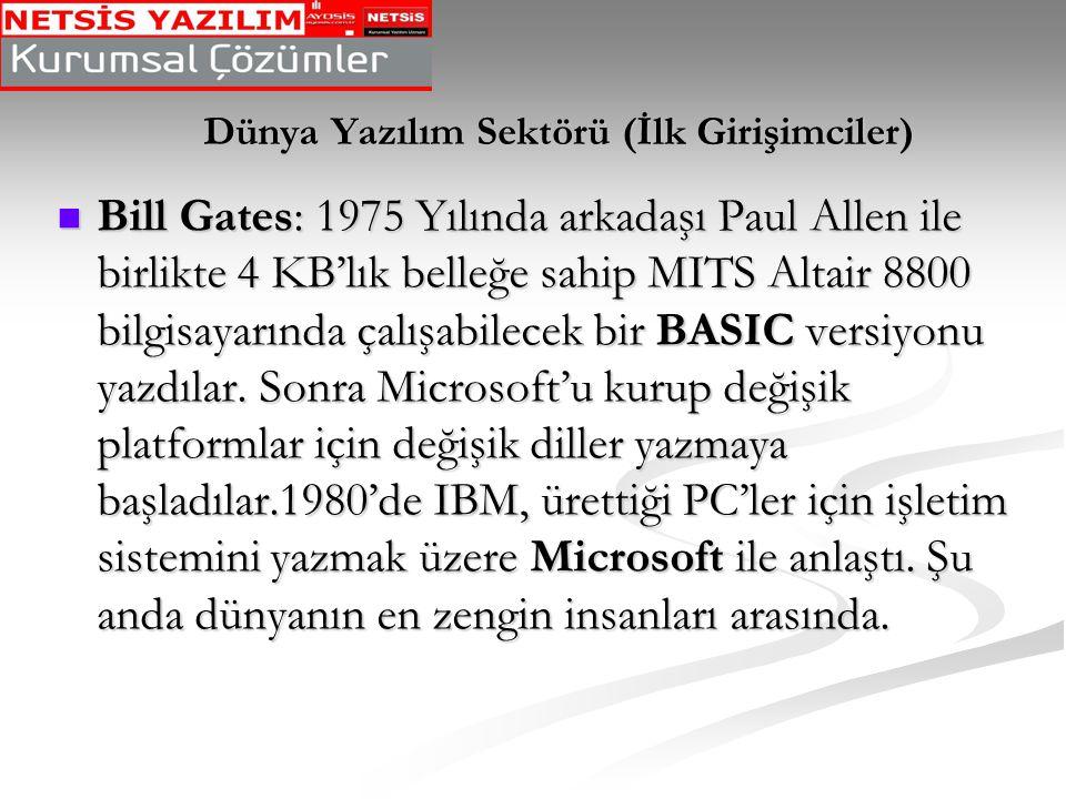 Dünya Yazılım Sektörü (İlk Girişimciler)