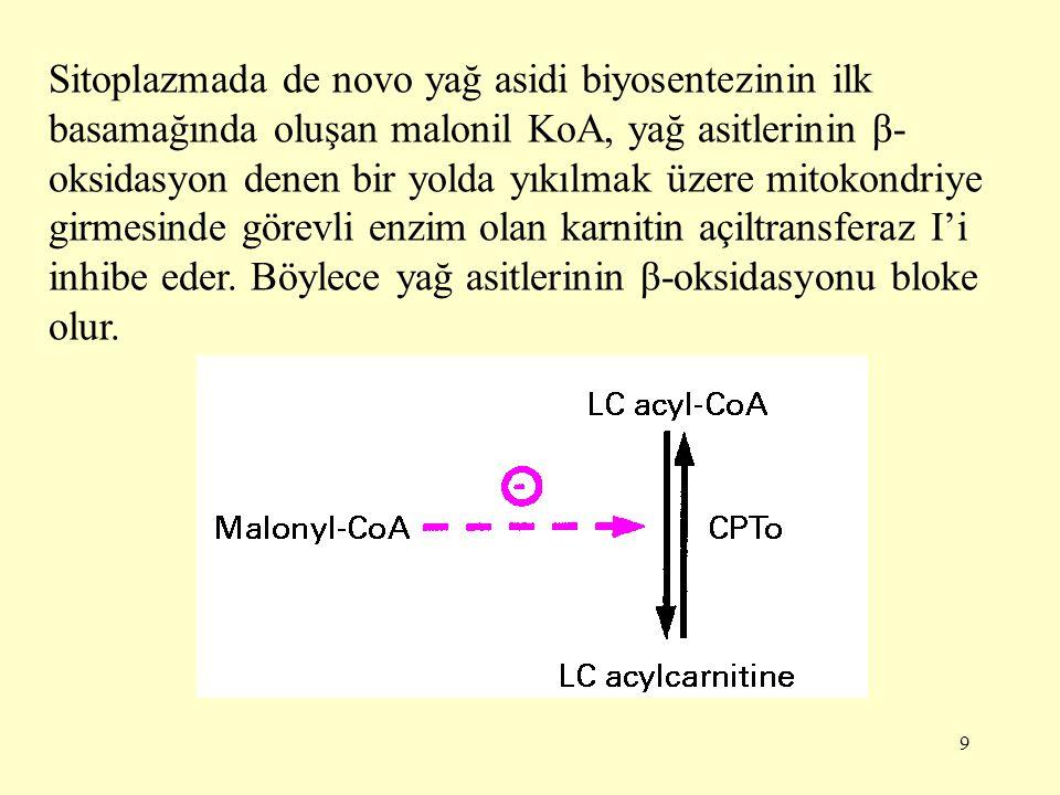 Sitoplazmada de novo yağ asidi biyosentezinin ilk basamağında oluşan malonil KoA, yağ asitlerinin β-oksidasyon denen bir yolda yıkılmak üzere mitokondriye girmesinde görevli enzim olan karnitin açiltransferaz I'i inhibe eder.