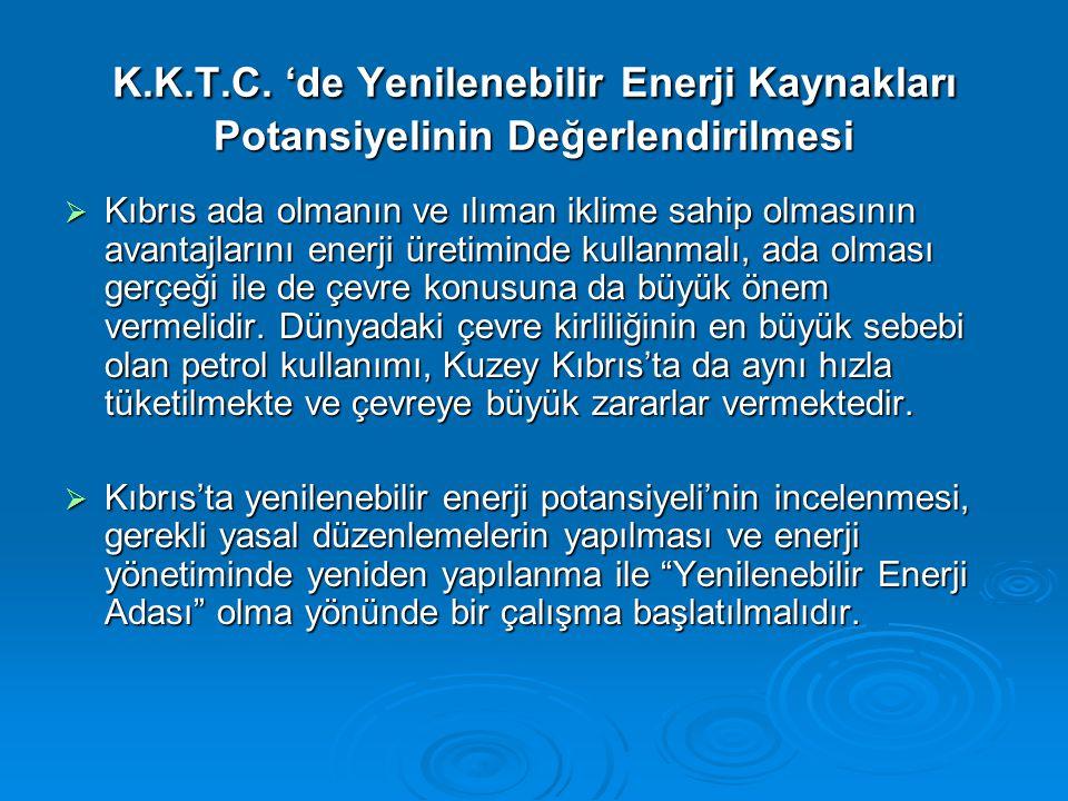 K.K.T.C. 'de Yenilenebilir Enerji Kaynakları Potansiyelinin Değerlendirilmesi