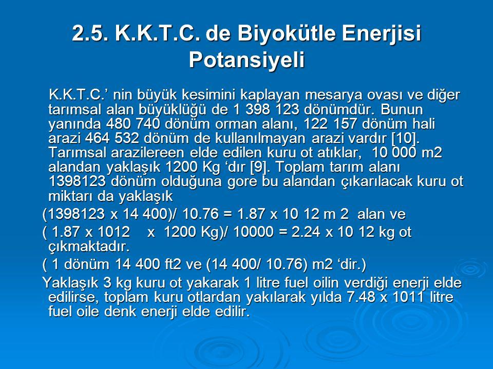 2.5. K.K.T.C. de Biyokütle Enerjisi Potansiyeli