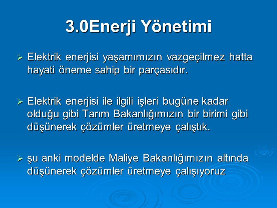 3.0Enerji Yönetimi Elektrik enerjisi yaşamımızın vazgeçilmez hatta hayati öneme sahip bir parçasıdır.