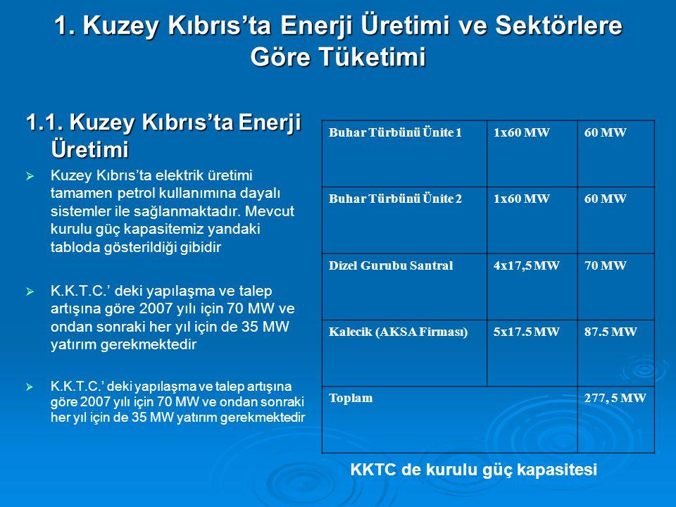 1. Kuzey Kıbrıs'ta Enerji Üretimi ve Sektörlere Göre Tüketimi