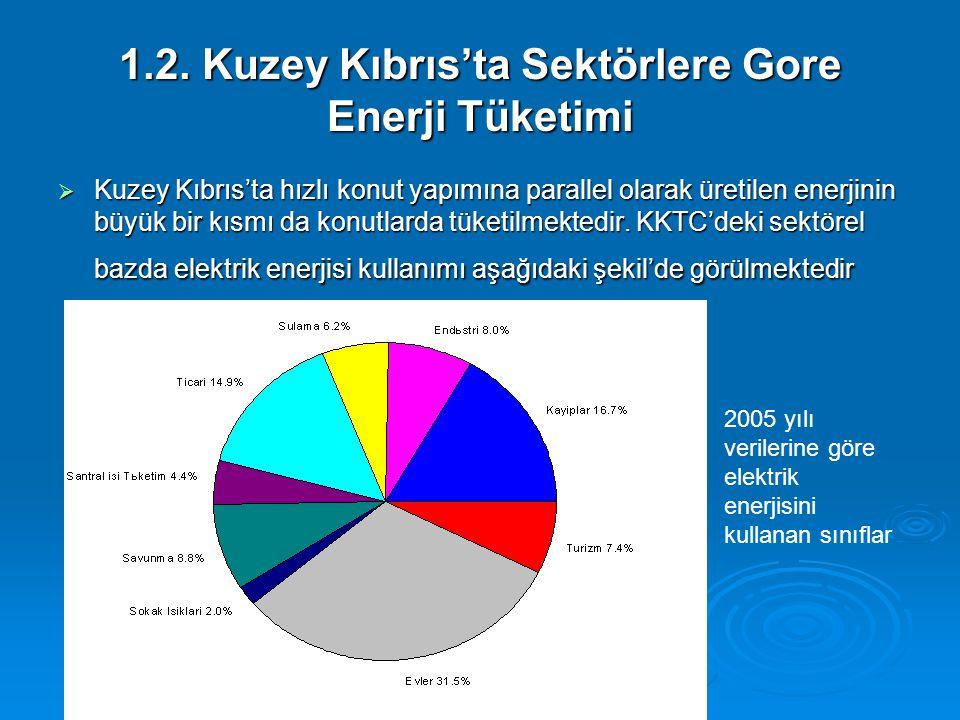 1.2. Kuzey Kıbrıs'ta Sektörlere Gore Enerji Tüketimi