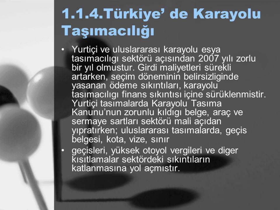 1.1.4.Türkiye' de Karayolu Taşımacılığı