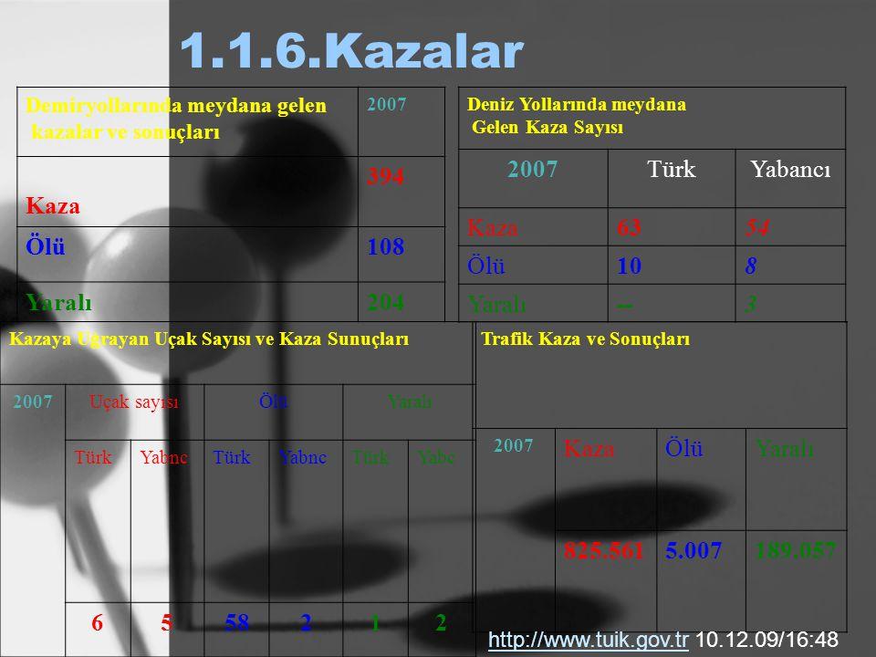 1.1.6.Kazalar Kaza 394 Ölü 108 Yaralı 204 2007 Türk Yabancı Kaza 63 54