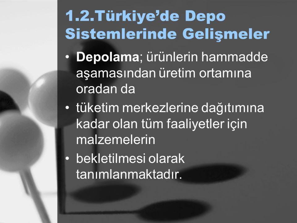 1.2.Türkiye'de Depo Sistemlerinde Gelişmeler