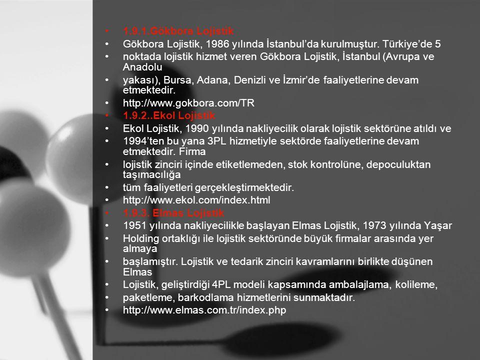 1.9.1.Gökbora Lojistik Gökbora Lojistik, 1986 yılında İstanbul'da kurulmuştur. Türkiye'de 5.