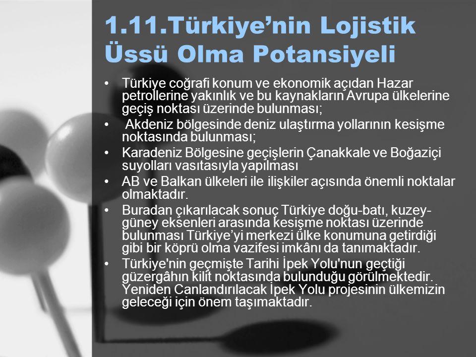 1.11.Türkiye'nin Lojistik Üssü Olma Potansiyeli