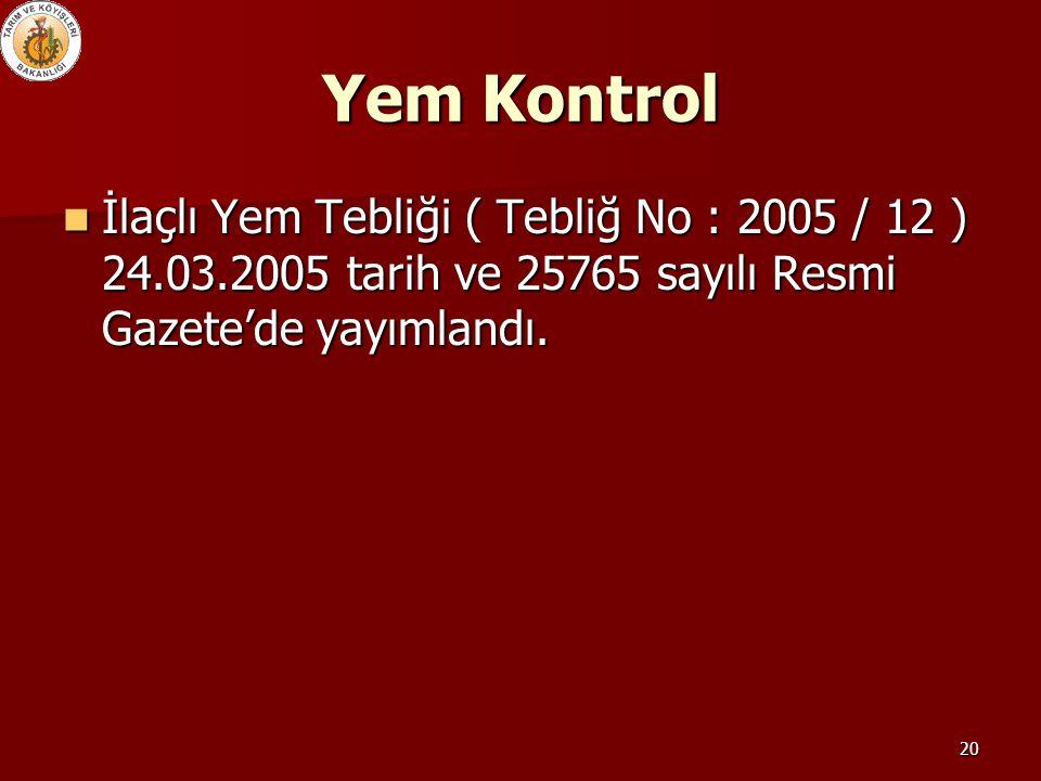 Yem Kontrol İlaçlı Yem Tebliği ( Tebliğ No : 2005 / 12 ) 24.03.2005 tarih ve 25765 sayılı Resmi Gazete'de yayımlandı.