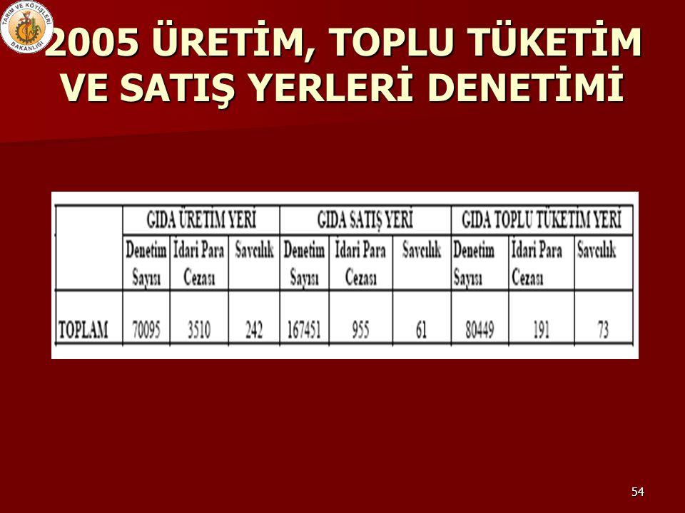 2005 ÜRETİM, TOPLU TÜKETİM VE SATIŞ YERLERİ DENETİMİ