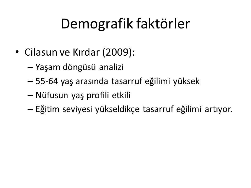 Demografik faktörler Cilasun ve Kırdar (2009): Yaşam döngüsü analizi