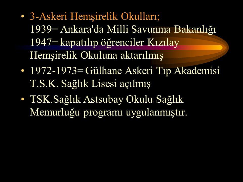 3-Askeri Hemşirelik Okulları; 1939= Ankara da Milli Savunma Bakanlığı 1947= kapatılıp öğrenciler Kızılay Hemşirelik Okuluna aktarılmış