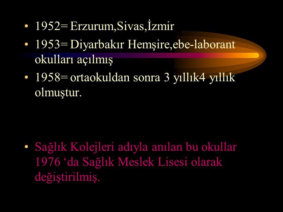 1952= Erzurum,Sivas,İzmir 1953= Diyarbakır Hemşire,ebe-laborant okulları açılmış. 1958= ortaokuldan sonra 3 yıllık4 yıllık olmuştur.