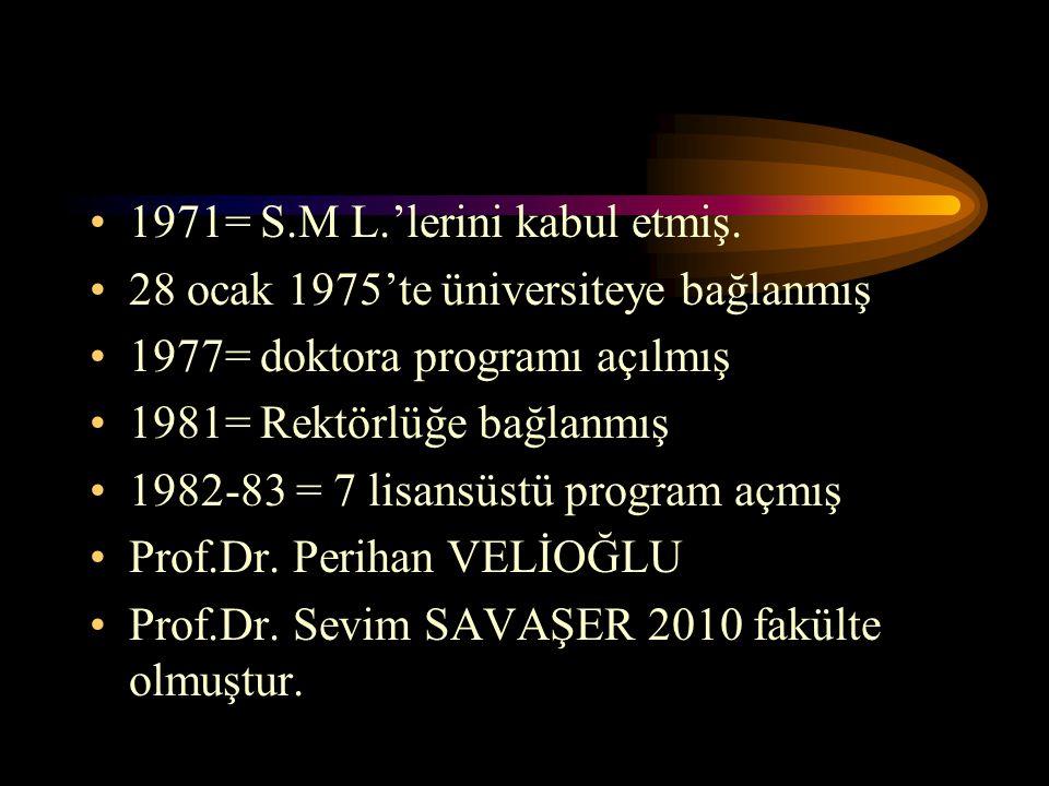 1971= S.M L.'lerini kabul etmiş.
