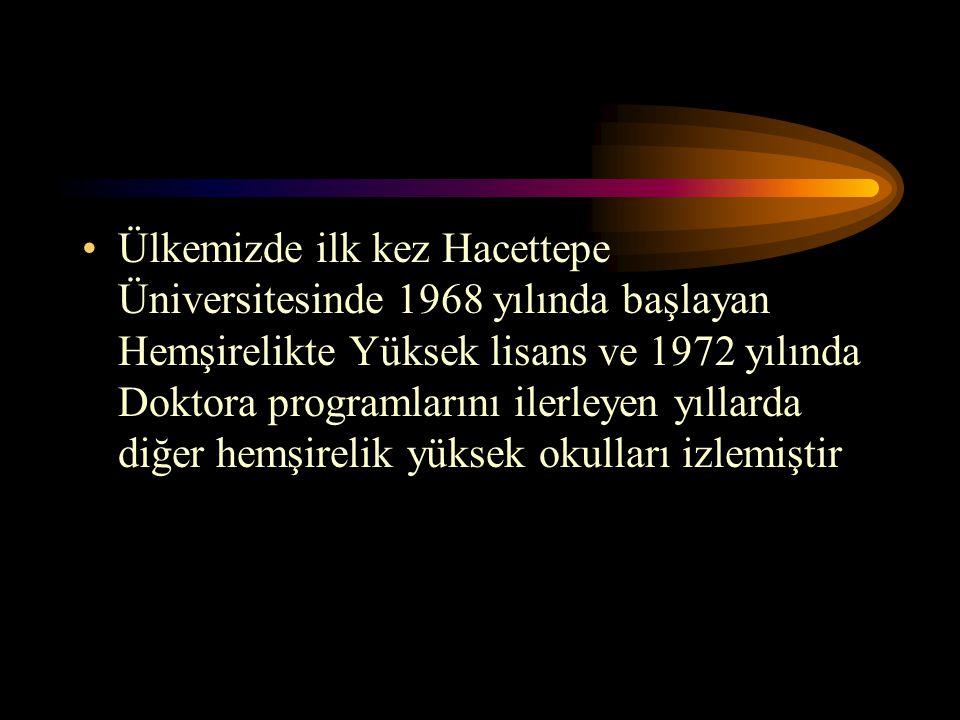 Ülkemizde ilk kez Hacettepe Üniversitesinde 1968 yılında başlayan Hemşirelikte Yüksek lisans ve 1972 yılında Doktora programlarını ilerleyen yıllarda diğer hemşirelik yüksek okulları izlemiştir