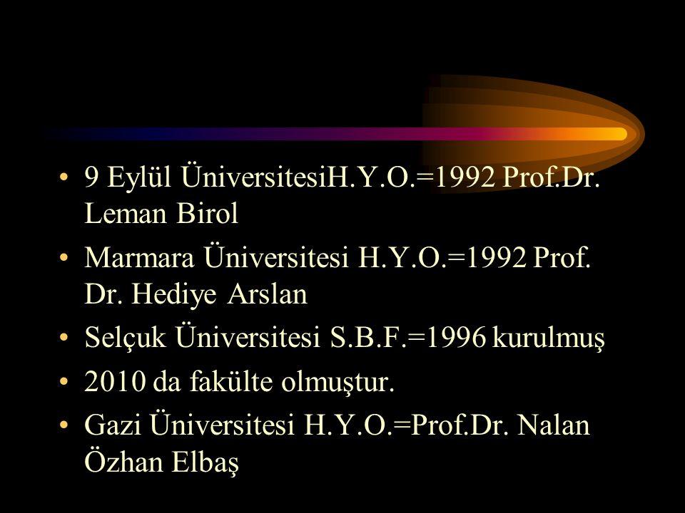 9 Eylül ÜniversitesiH.Y.O.=1992 Prof.Dr. Leman Birol