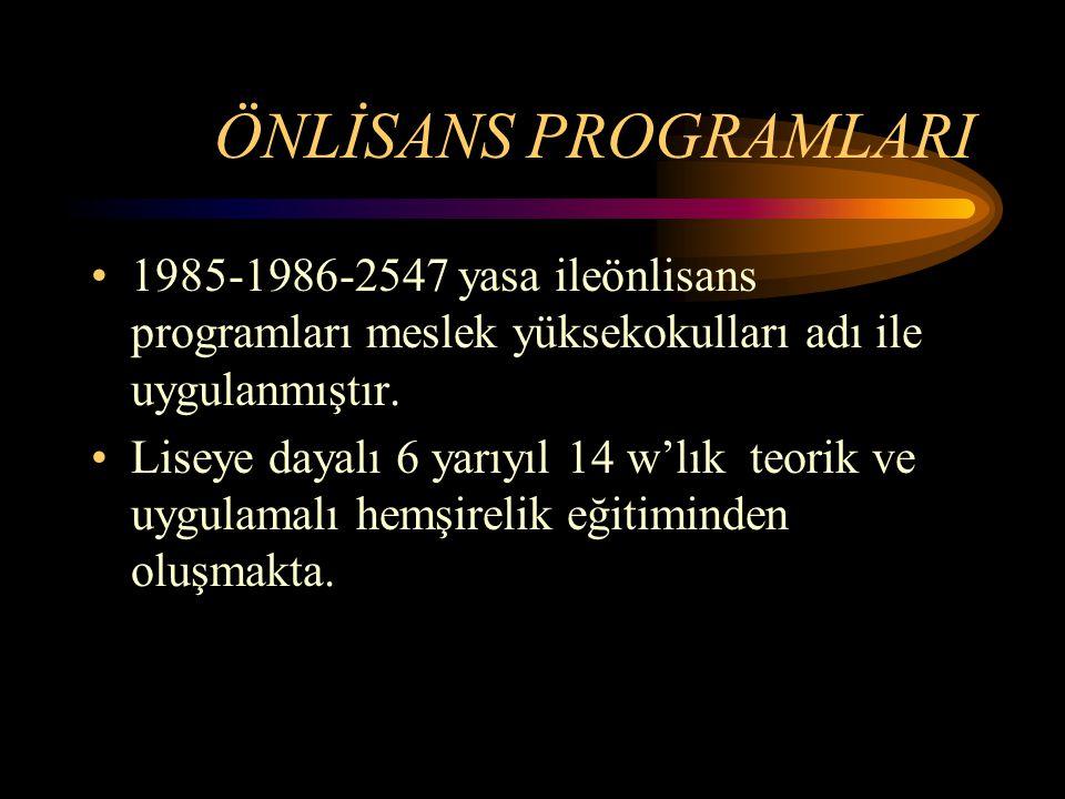 ÖNLİSANS PROGRAMLARI 1985-1986-2547 yasa ileönlisans programları meslek yüksekokulları adı ile uygulanmıştır.