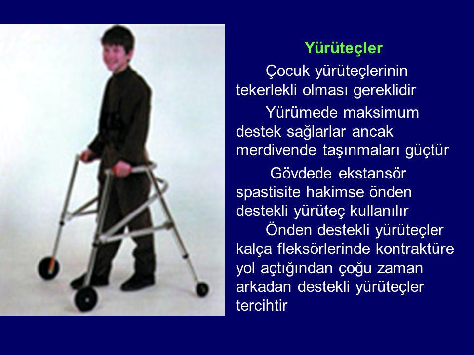 Yürüteçler Çocuk yürüteçlerinin tekerlekli olması gereklidir. Yürümede maksimum destek sağlarlar ancak merdivende taşınmaları güçtür.