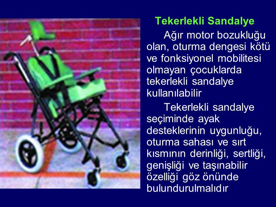 Tekerlekli Sandalye Ağır motor bozukluğu olan, oturma dengesi kötü ve fonksiyonel mobilitesi olmayan çocuklarda tekerlekli sandalye kullanılabilir.