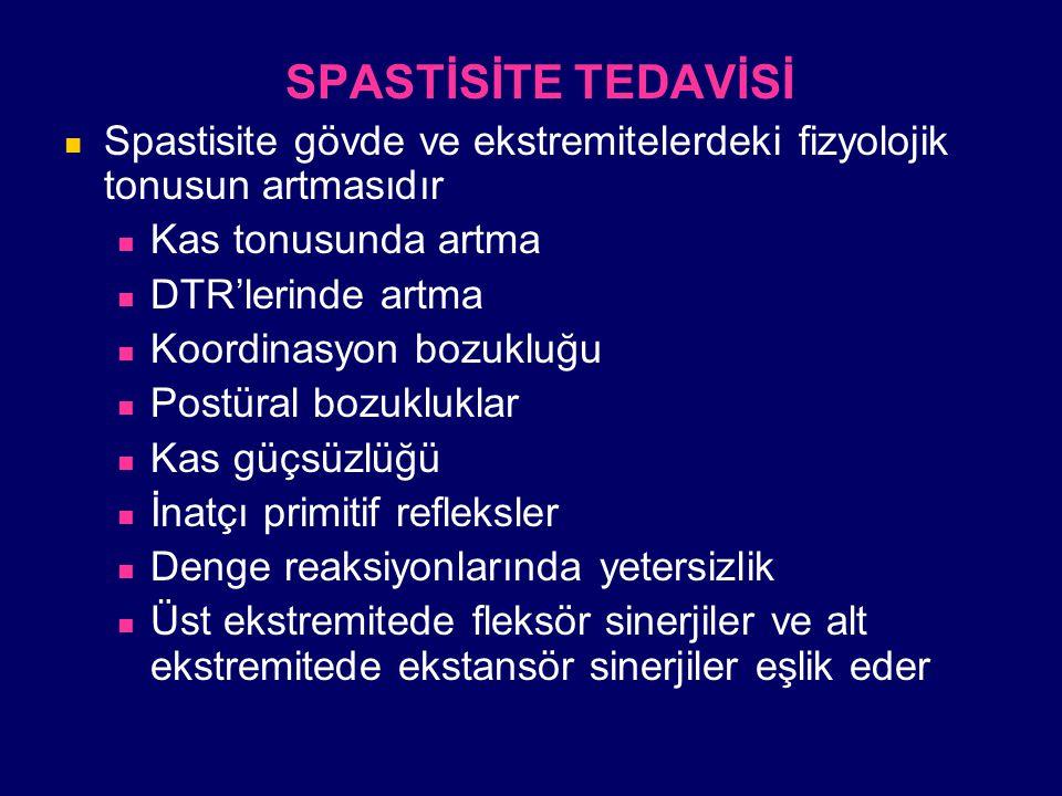 SPASTİSİTE TEDAVİSİ Spastisite gövde ve ekstremitelerdeki fizyolojik tonusun artmasıdır. Kas tonusunda artma.
