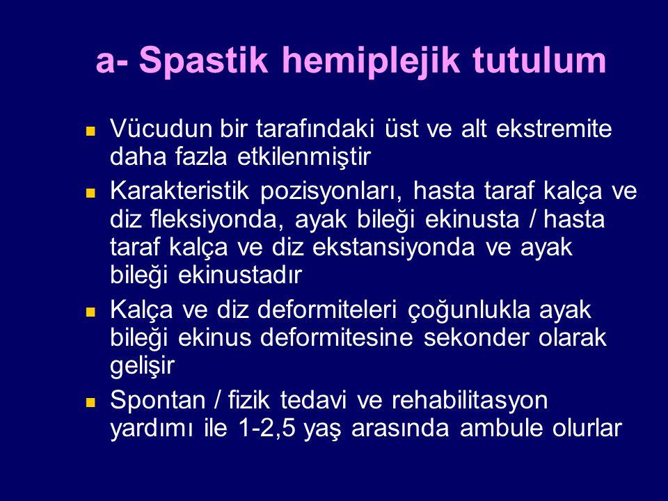a- Spastik hemiplejik tutulum