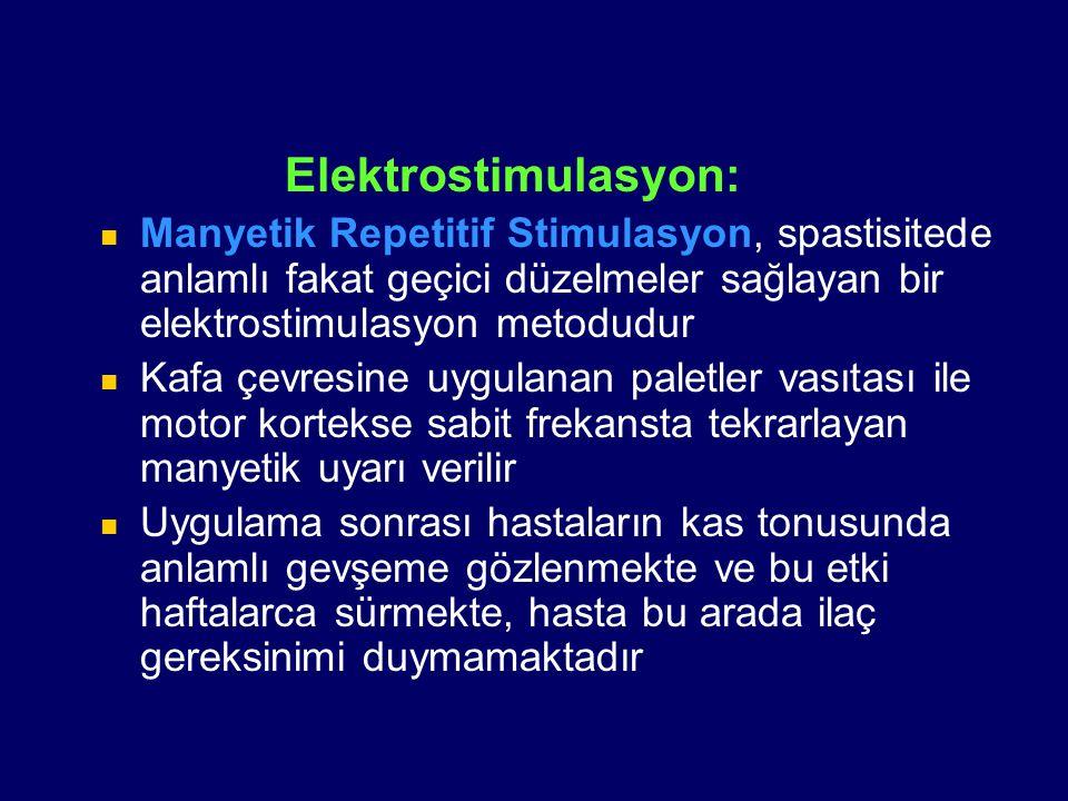Elektrostimulasyon: Manyetik Repetitif Stimulasyon, spastisitede anlamlı fakat geçici düzelmeler sağlayan bir elektrostimulasyon metodudur.