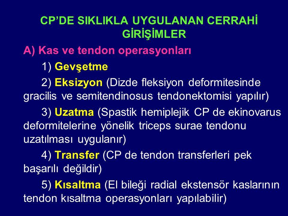 CP'DE SIKLIKLA UYGULANAN CERRAHİ GİRİŞİMLER