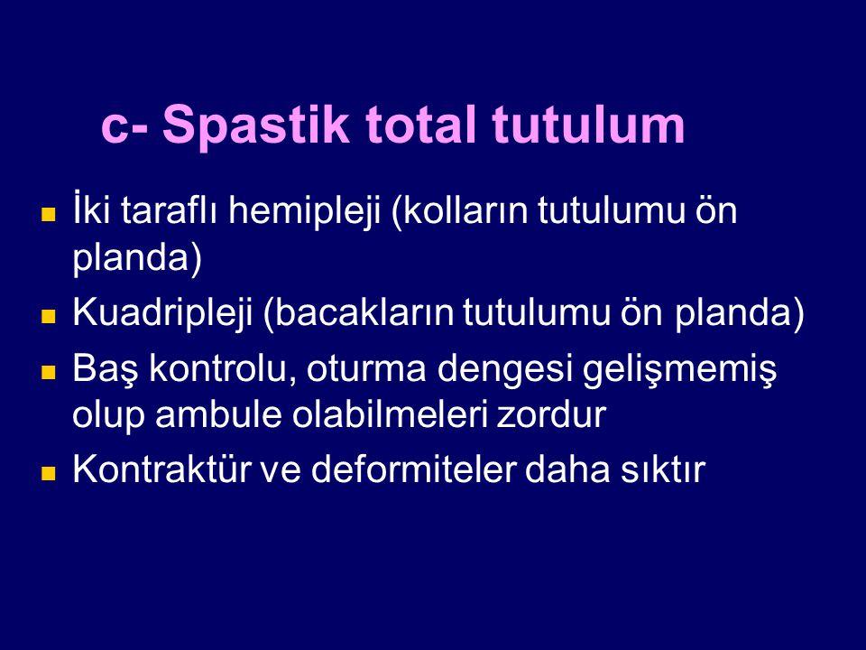 c- Spastik total tutulum