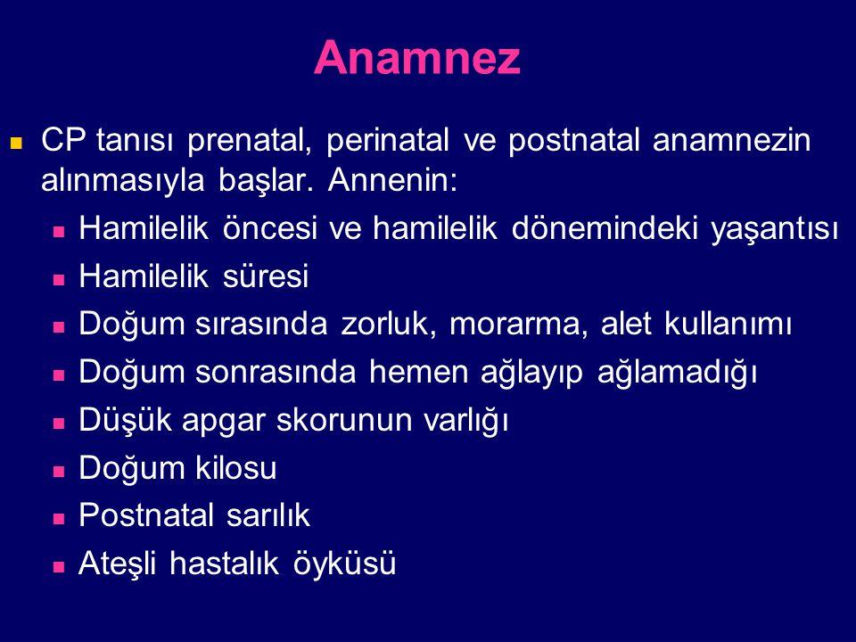 Anamnez CP tanısı prenatal, perinatal ve postnatal anamnezin alınmasıyla başlar. Annenin: Hamilelik öncesi ve hamilelik dönemindeki yaşantısı.